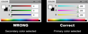 The color palette in Photoshop CS5 showing the proper configuration for the eyedropper to pick the color of the primary swatch.