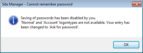 FileZilla Saved Passwords Error Message