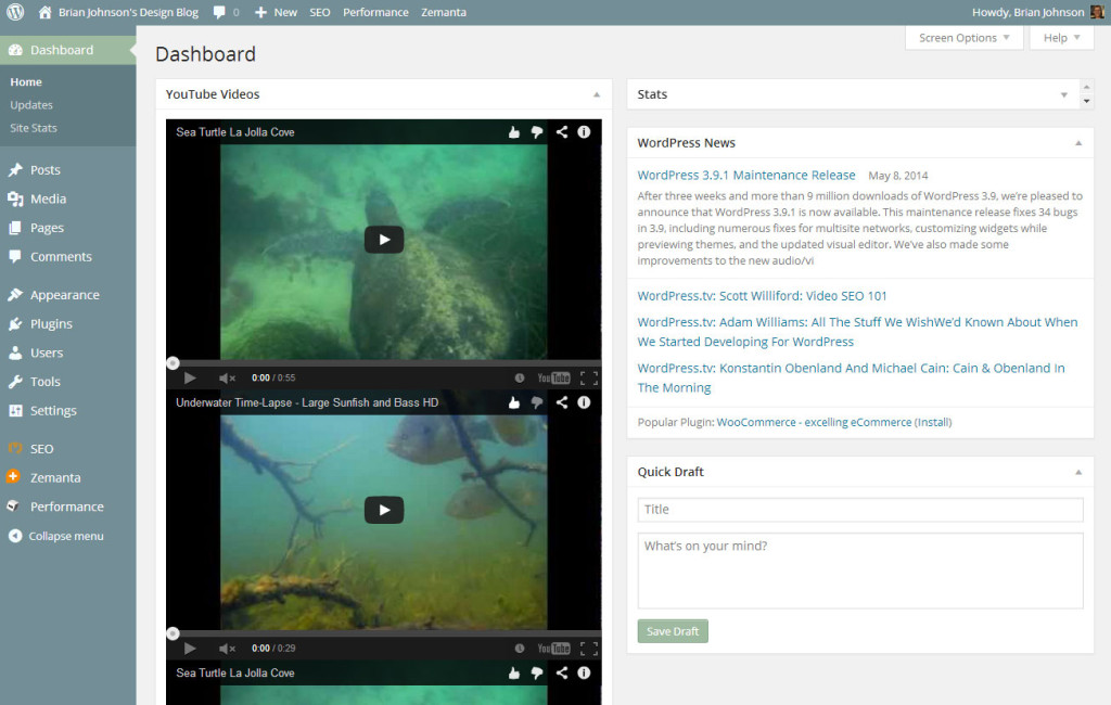 Video Dashboard seen from the actual backend