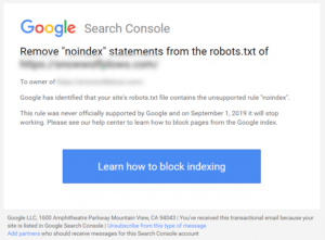 """Screenshot of the email from Google regarding use of """"noindex"""" in robots.txt"""