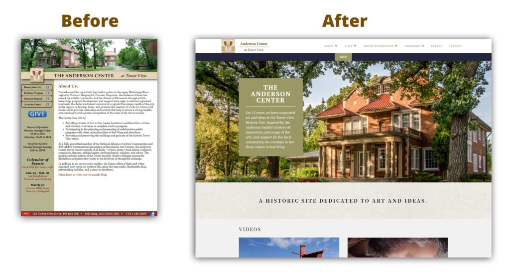 Before and After comparison of the website design for The Anderson Center